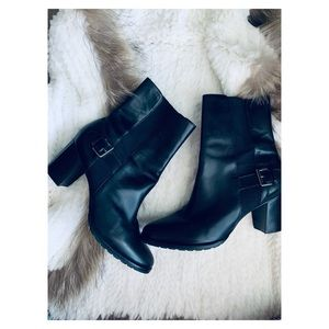 Cole Haan Black Leather Moto Boots booties 8.5